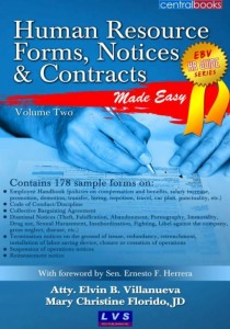 Image of guide book on HR Notices and Forms, including Code of Conduct, Employee Handbook, collective bargaining agreement